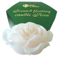 FLOATING CANDLE WHITE ROSE 300 g. - SCENTED VANILLA & ROSE